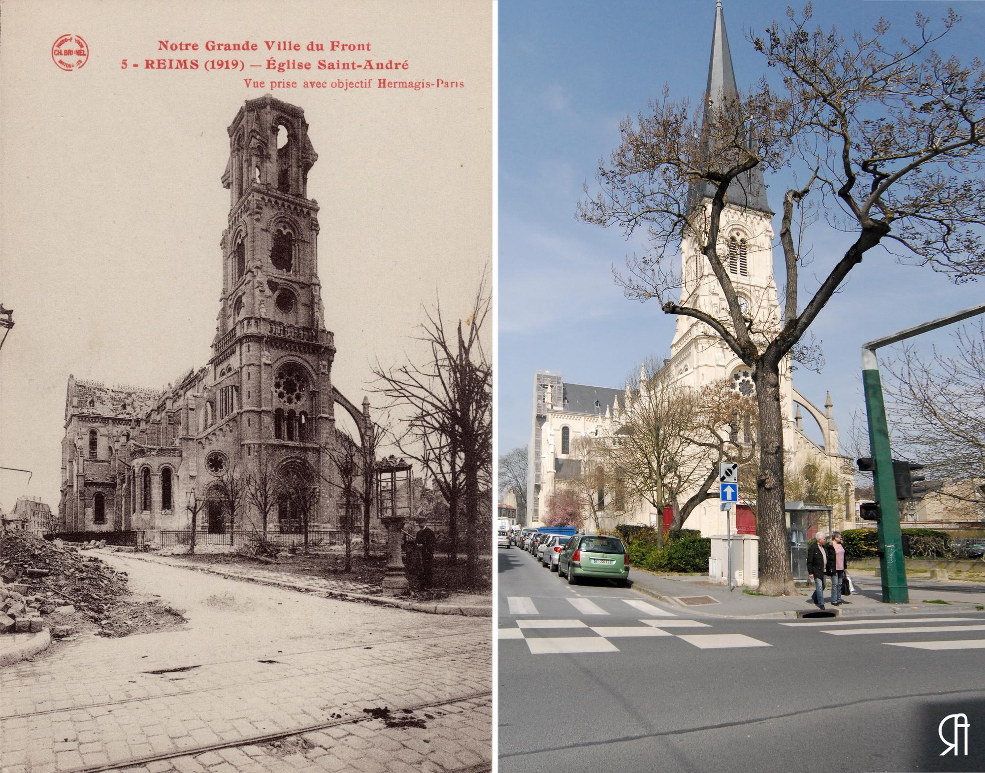 L'Église Saint-André après les bombardements