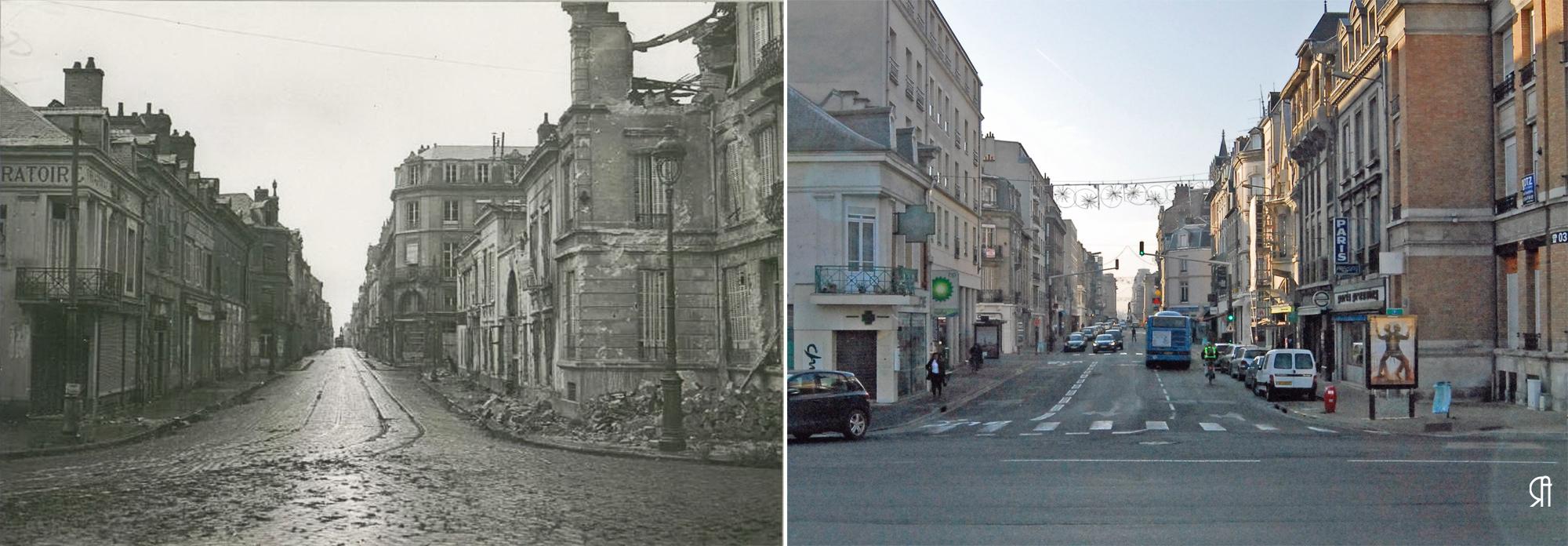 La rue Cérès vue de la place Aristide Briand