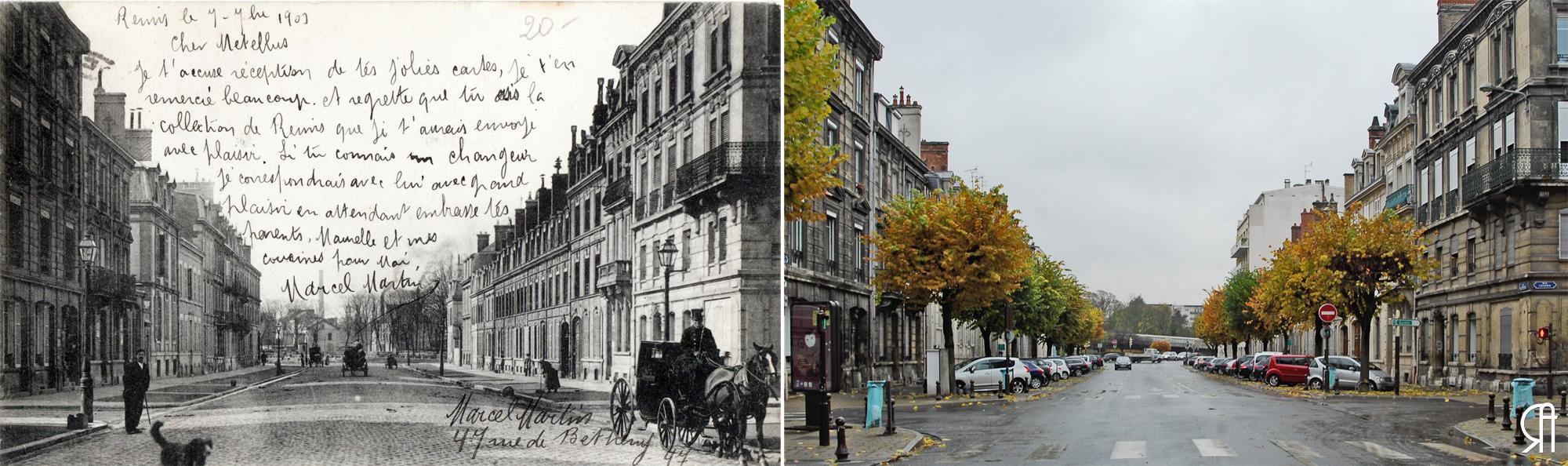 Rue Libergier au début du XXe siècle