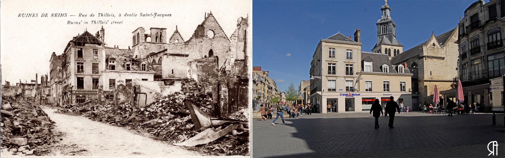 La rue de Thillois et l'église Saint-Jacques après les bombardements