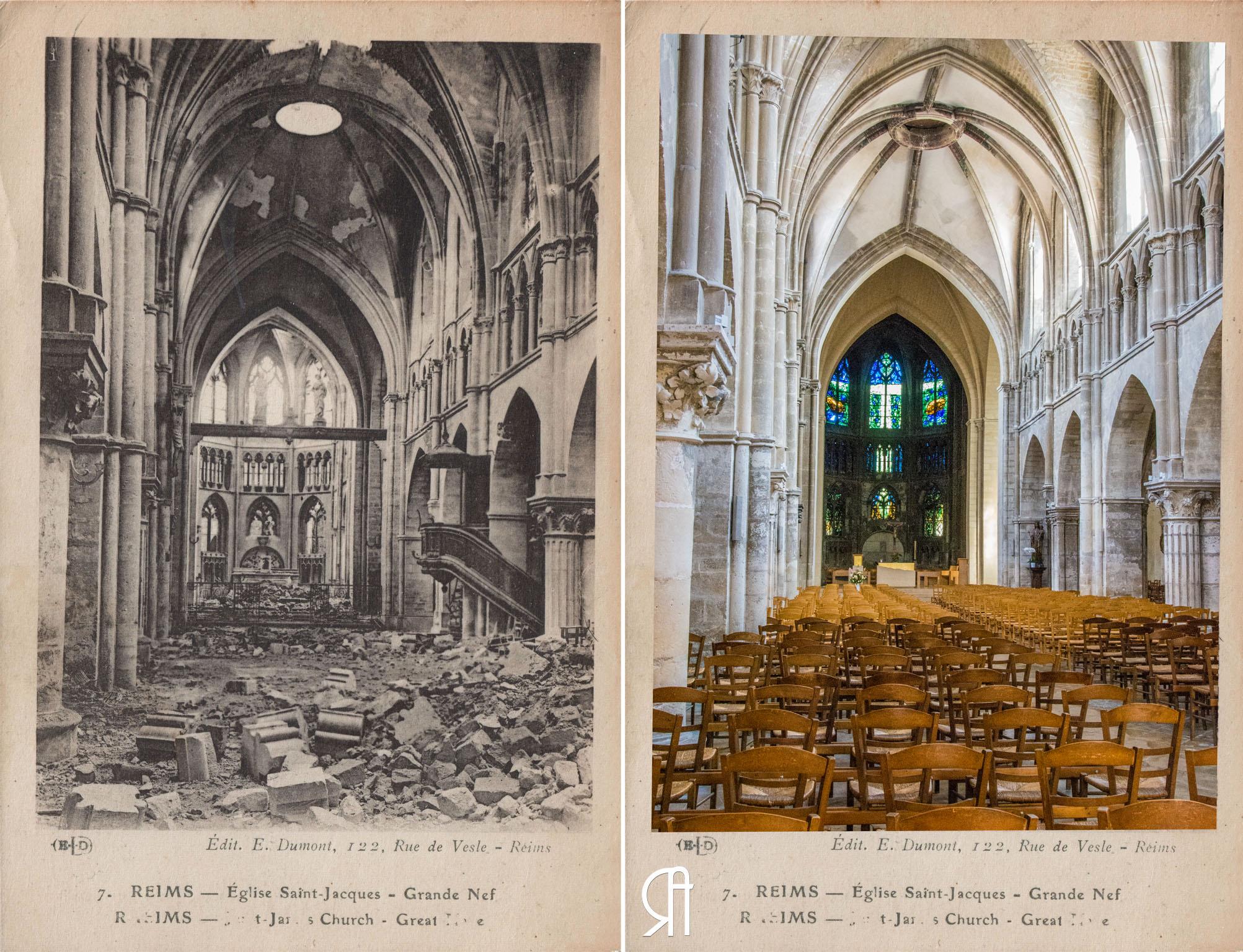 L'intérieur de l'Eglise St-Jacques détruit en 14-18