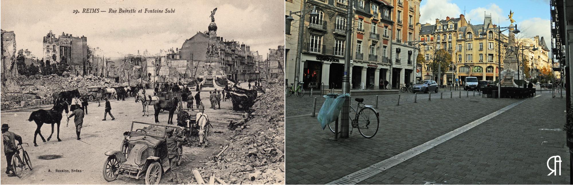Rue Buirette à la fin de la Grande Guerre