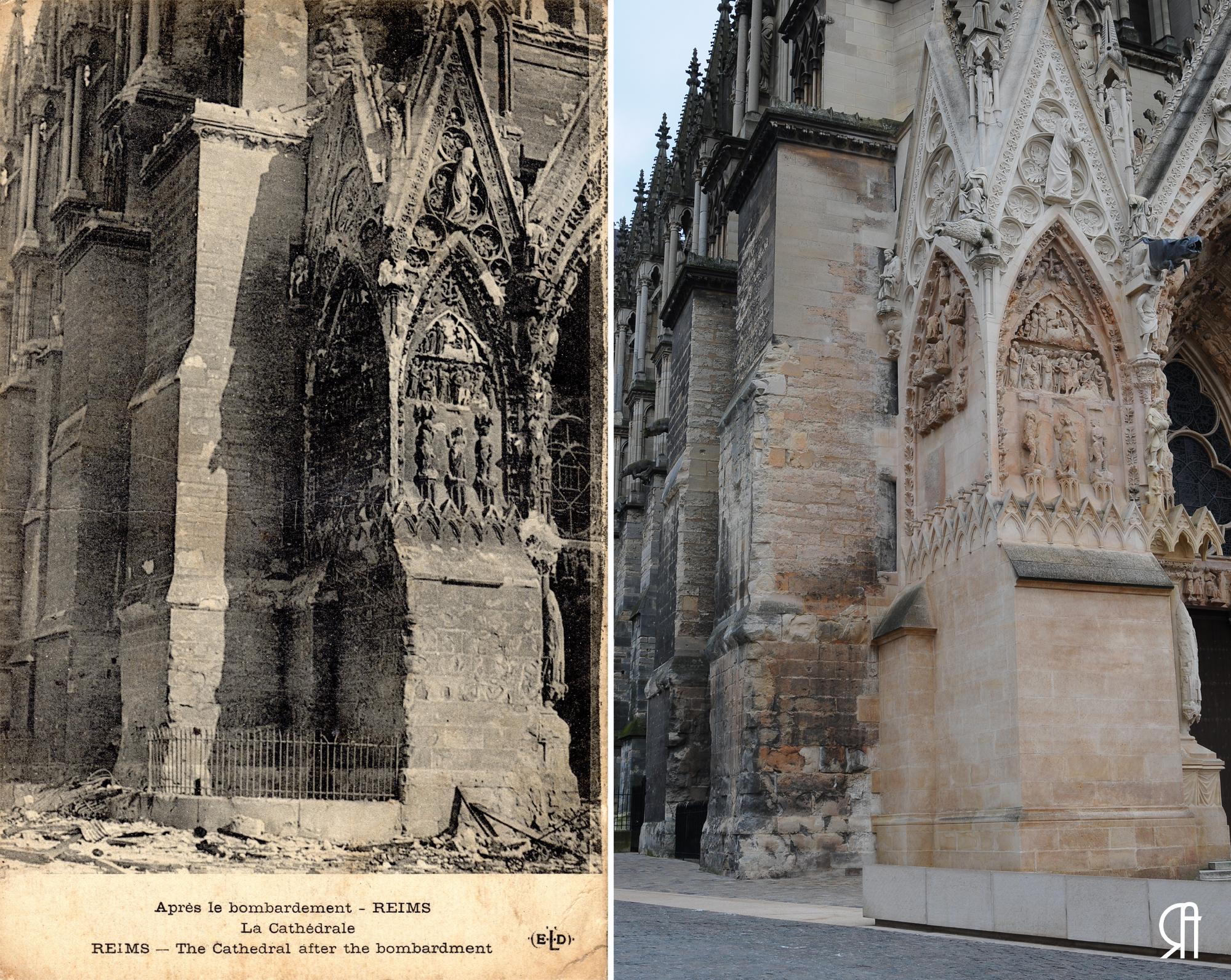 L'angle nord/ouest de la cathédrale après le bombardement