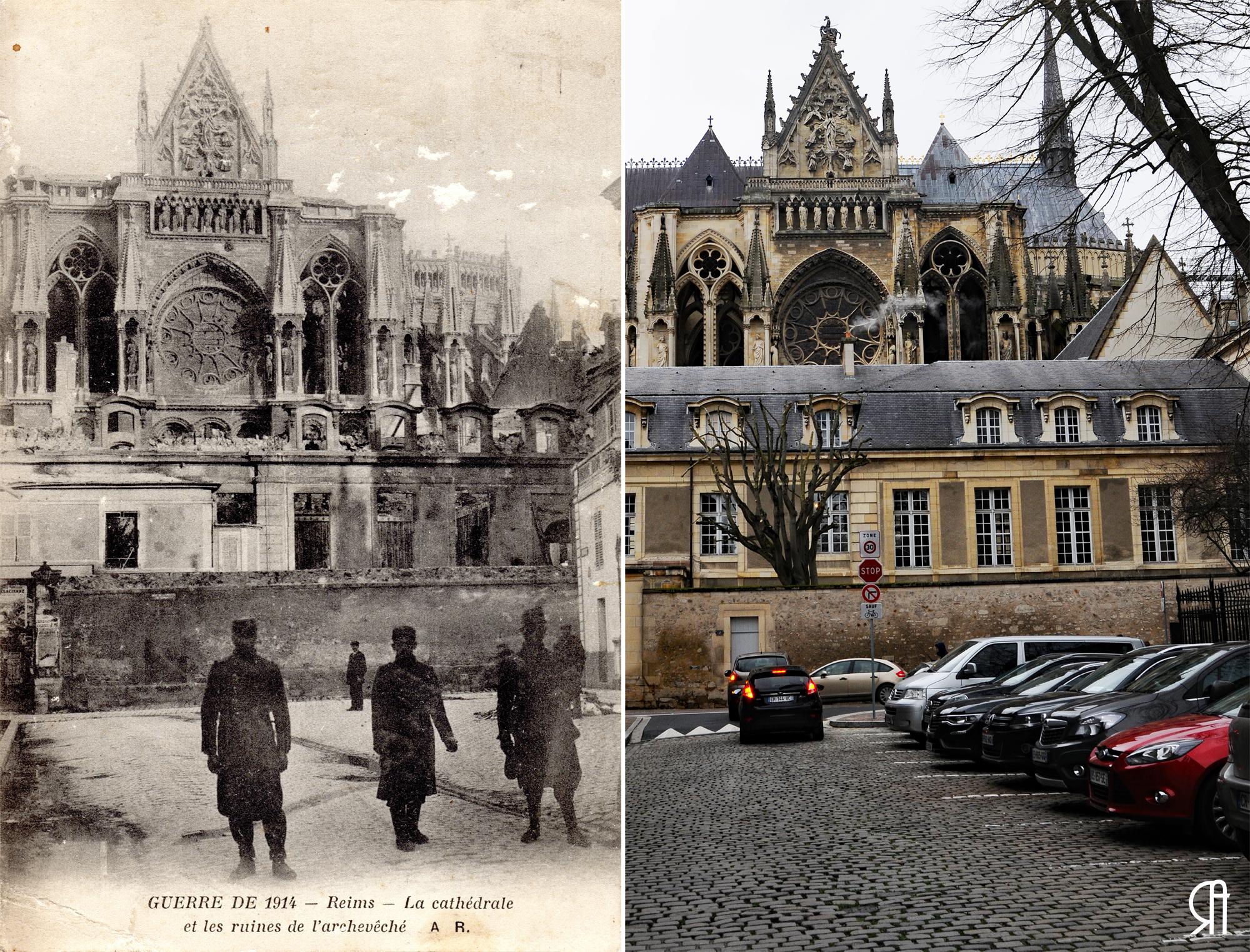 La cathédrale depuis la rue l'École de Médecine pendant la Grande Guerre