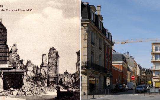 La rue de Mars, à droite, la rue Henri IV à gauche