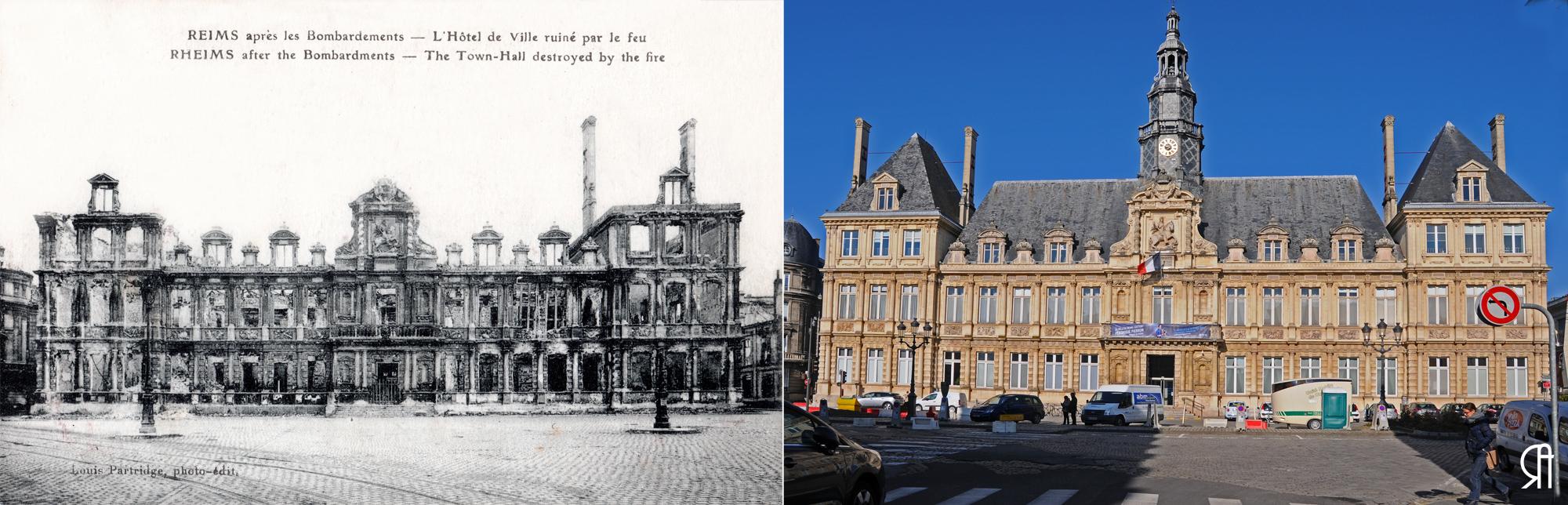 L'Hôtel de Ville après les bombardements 1914-1918