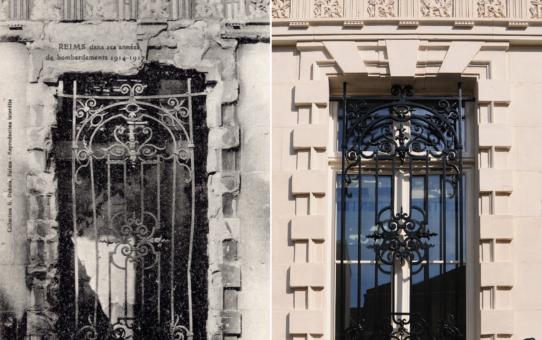 Une fenêtre de l'Hôtel de Ville après les bombardements