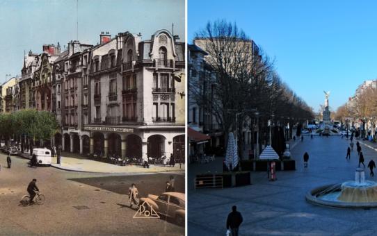 La place d'Erlon (4 époques) depuis l'immeuble de la Mie Câline