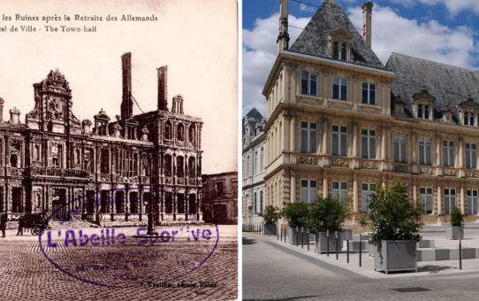L'Hôtel de Ville dans les ruines après la retraite des Allemand, l'Hôtel de Ville