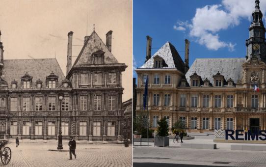 L'Hôtel de Ville avant la guerre, en 2018 et en 2020